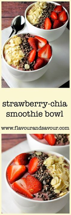 Strawberry Chia Smoothie Bowl. A healthy way to start your day. Banana, strawberries, chia seeds and milk of your choice. Add fresh fruit and nuts for extra crunch. Paleo too!