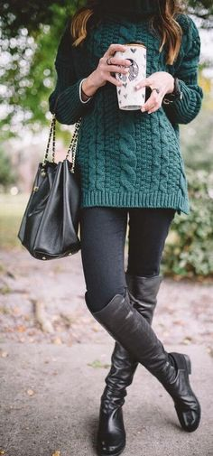 I like the green sweater with leggings and boots. I dont know if I would boots that high..