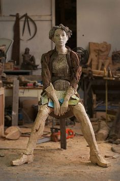 Wood sculpture by Egon Tania, a South African artist.