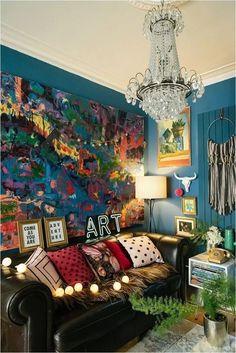 Dark Blue Living Room, Boho Living Room, Living Room Decor, Bedroom Decor, Bedroom Ideas, Bohemian Living, Wall Decor, Wall Art, Decor Interior Design