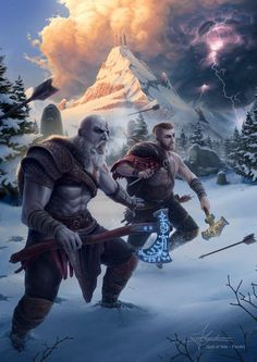 God Of War Kratos And Atreus Game Desktop Wallpaper Gaming Room