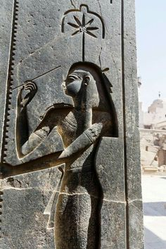 Depiction of the goddess Seshat, goddess of libraries,on the back pillar of the colossal statue of Rameses II.