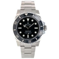 Rolex Steel No-Date Submariner Watch - Black Dial stainless steel superalloy case, unidirectional rotatable black Cerachrom time lapse bezel, black di Submariner Watch, Rolex Watches, Accessories, Black, Black People, Ornament