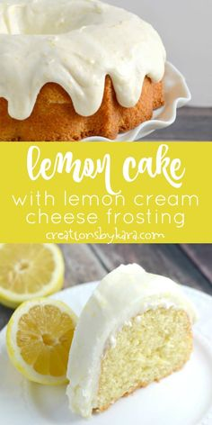 Lemon fans will go crazy for this amazing lemon cake with lemon cream cheese frosting it is simple and delicious! a perfect spring cake recipe lemoncake lemonbundtcake lemoncreamcheesefrosting lemonfrosting creationsbykara lemon cake from scratch Lemon Desserts, Lemon Recipes, Baking Recipes, Delicious Desserts, Healthy Recipes, Food Cakes, Cupcake Cakes, Cupcakes, Snack Cakes