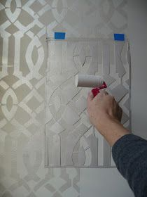 Tutorial: stenciling pearlescent white metallic glaze over white paint