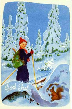 Julekort Erling Nielsen Norsk arbeide 1950-tallet