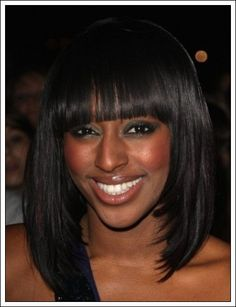 long bob hairstyles with bangs for black women