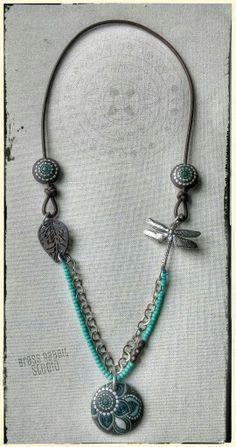 Assemblage necklace with ceramic focals by Brass Rabbit Studio on Etsy, www.brassrabbitstudio.etsy.com