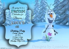 Frozen Birthday Invitation by DesignsbyLyssaLou on Etsy, $6.00 Frozen Birthday Invitations, Snow Party, 4th Birthday Parties, Frozen Party, Costumes, Christmas Ornaments, Holiday Decor, Awesome, Handmade Gifts