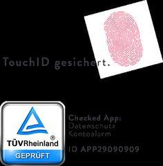 TÜV geprüft und TouchID gesichert - mit der #kontoalarm iOS App bist du auf der sicheren Seite.