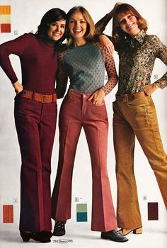 Fashion-Women's Colored jeans Fashion-Women's Colored jeans. Fun Style for lovers of that Retro Look 70s Outfits, Vintage Outfits, 70s Vintage Fashion, 60s And 70s Fashion, Seventies Fashion, Vintage Mode, Outfits For Teens, Teen Fashion, Womens Fashion