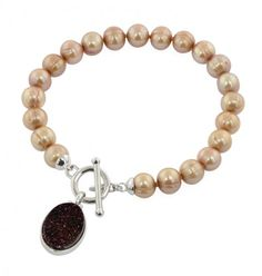 """Sterling Silver 7-8MM Mocha Round Ringed Freshwater Cultured Pearl with Chocolate Agate Druzy 7.5"""""""