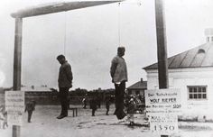 7 August 1941, The bodies of two Jewish judges, Wolf Kieper and Moshe Kagen, hanging on the gallows in Zhitomir, Ukraine