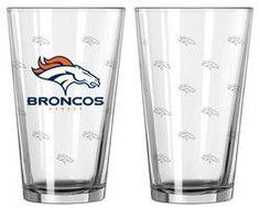 Denver Broncos Satin Etch Pint Glass Set