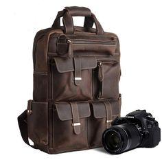 Genuine Leather Camera Bag , Leather Camera Backpack, Leather SLR Camera Case, AT-004