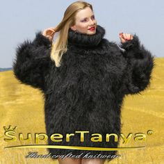 Black hand knitted mohair sweater turtleneck fuzzy by supertanya