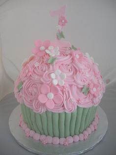 Giant Cupcake, pink and green
