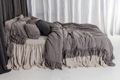 NEW arrival from Rustic style linen bedding set with double ruffles. Made by mooshop - - Bed Linen Sets, Linen Duvet, Luxury Duvet Covers, Luxury Bedding, Modern Bedding, Neutral Bedding, Diy Bett, Pottery Barn, Bed Linen Design