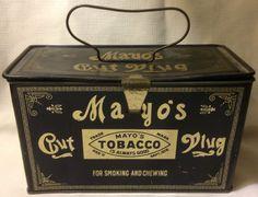 Vintage Mayo's Tobacco Cut Plug Metal Tin/Lunchbox Pail