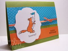 stamp it with Jen: foxy birthday! Card using Storybook Friends set from Stampin Up