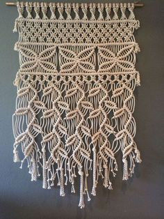 Cascading Leaves approx by MUKIdesigns on Etsy - Macrame 2019 Macrame Wall Hanging Patterns, Macrame Wall Hanging Diy, Macrame Curtain, Macrame Art, Macrame Projects, Macrame Patterns, Macrame Knots, Micro Macrame, Crochet Projects