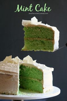 Mint Cake with Vanilla Buttercream from JensFavoriteCooki... - This green mint cake is dense and flavorful!