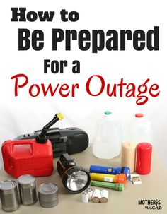 Great ideas for preparing for a power outage. A bunch of other emergency preparedness info too! Last year our power went out for hours and I realized I was not at all prepared for a power outage. Here are some things I have done since then to be Emergency Preparedness Food, Hurricane Preparedness, Emergency Preparation, Survival Prepping, Survival Skills, Survival Gear, Survival Hacks, Wilderness Survival, Apocalypse Survival