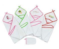 Kapuzenhandtuch Badetuch für Kinder mit Handschuh von HOBEA-Germany in verschiedenen Farben: Kuscheliges Baby Kapuzenbadetuch Set aus 100 % Baumwolle.