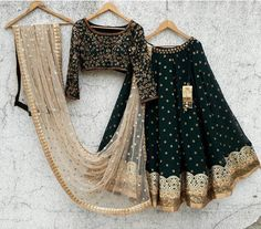 F you're wondering about the latest lehenga blouse designs, you've reached the right spot. A designer lehenga blouse can make your look fresh from fashion Indian Gowns Dresses, Indian Fashion Dresses, Dress Indian Style, Indian Designer Outfits, Bollywood Lehenga, Indian Lehenga, Black Lehenga, Green Lehenga, Lehenga Saree