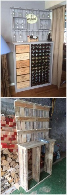 If your house members are big lovers of drinking wine then it is not possible that your house would not support any wine bar. In this awesome designed wood pallet wine bar you will view the upper portion that is holding the use of the glasses and lower portion of the wine bar will store all your favorite bottles stock.