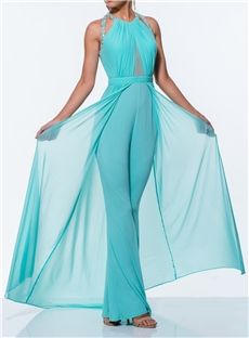 Elegant Sheath Beading Halter Dress Like Pants