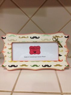 barber cosmetology business license mustache frame fits 8 12x 3 58 business certification