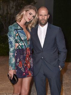 Rosie Huntington-Whiteley and Jason Statham at Burberry event in LA #dailymail