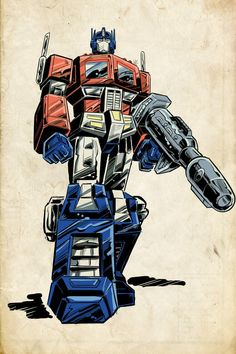 Old-school Optimus Prime. pencilled and inked in Manga Studio and coloured in Photoshop. Old-school Optimus Prime Gi Joe, Nemesis Prime, Transformers Generation 1, Transformer Party, Transformers Optimus Prime, Original Transformers, Old School Cartoons, Vw Touran, Classic Cartoons