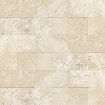 Baja Cream Travertine on shower walls in girls' bath with dark wood look tiles on floor