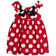 Balloon Chic Girls Red Spotty Jersey Dress at Childrensalon.com