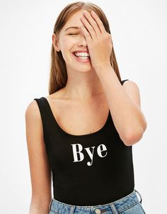 Strappy stretch bodysuit with slogan - Bershka #strappy #stretch #body #slogan #bye #bershka