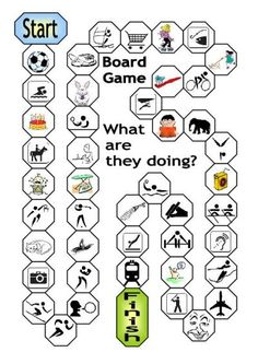 Board Game: What are they doing? (Present continuous)