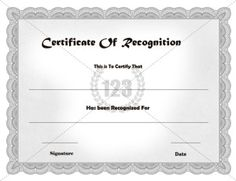 Recognition Certificate Template | Certificate Templates