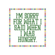 Funny Cross Stitch Hungry Counted Cross Stitch Chart Instant Download PDF by…
