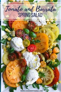 Tomato and Burrata Spring Salad is a perfect appetizer side dish or light meal for spring and summer days! It's easy enough to prepare just for yourself but delicious and colorful enough to impress your guests for a holiday meal or get-together. Spring Salad, Summer Salads, Spring Food, Winter Salad, Spring Meals, Gourmet Recipes, Cooking Recipes, Healthy Recipes, Amish Recipes