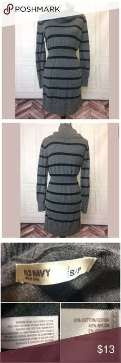 Old Navy Small Gray & Black Striped Sweater Dress Old Navy Small Gray & Black Striped Sweater Dress  Long Sleeve  Pullover  Pictures were taken in a smoke-free, pet friendly environment away from the pets.  Very good used condition  See pictures for flaws (if any), fabric content, cleaning instructions and measurements.  I check all items for flaws and include any in the listing. If I have missed any, it is by mistake.  Thank you for looking at my store! Old Navy Dresses