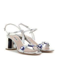 Miu Miu - Embellished metallic leather sandals - mytheresa.com