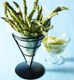 Green-Bean and Asparagus Fries with Dipping Sauce
