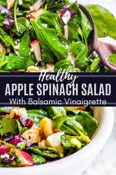 The BEST Healthy Spinach Apple Salad with Homemade Honey Balsamic Vinaigrette. This recipe is perfect for holidays, a side dish or main course. This vegetarian salad is packed with dried cranberries, feta, red onion, apples, and walnuts for the perfect combo. Video included! #salad #healthy #recipe #Food #vegetarianfood #vegetarian