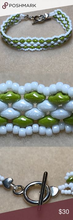 """Green & White Bracelet Handmade, beaded green and white bracelet with toggle clasp. 7.5"""" Jewelry Bracelets"""