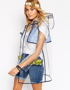 Image 1 of ASOS Rain Trench With Contrast Binding