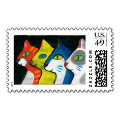 colorful cats drawn in profile postage stamp. Wanna make each letter a special delivery? Try to customize this great stamp template and put a personal touch on the envelope. Just click the image to get started!