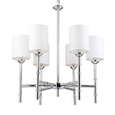 """6-Light Chrome Bamboo Rod Chandelier Straight lines and linen cylinder shades (included) give this 6 light chrome chandelier cosmopolitan polish. 6x60 watts candle sockets. (29.5""""Hx25.5""""Wx6.25""""D)  8' chain included."""