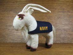 NCAA USNA Navy Mascot Mohair Stuffed Goat Toy Souvenir Vintage 1940s. $45.00, via Etsy.